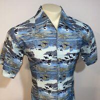Vtg 60s 70s JOEL California Shirt POLYESTER Disco Hippie Bird Print MENS LARGE