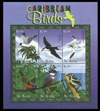St. Kitts 2001 MNH SS, Birds, Bunting, Kingfisher, Sapsucker. Tern, Gull -J53