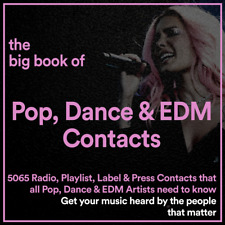 The BIG BOOK of 5065 POP, EDM & DANCE Music Industry Promo Contacts & Details
