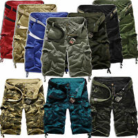 Mens Camo Cargo Shorts Military Army Tactical Combat Work Sports Pants Trousers