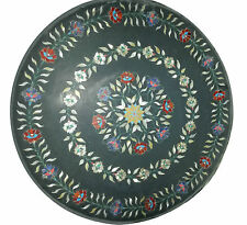 "24""x24"" Marble Side Coffee Table Top Real Inlay Pietradura Patio Furniture Decor"