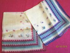 Vintage Antique Pair Small Silk Sweet Coordinated Hankies Red Pink Blue Purple
