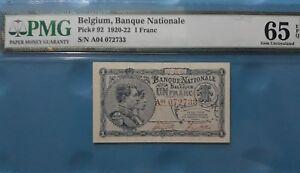 1920 -22 Belgium 1 Franc PMG65 EPQ GEM UNC <P-92>
