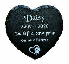 Personalised Engraved Slate Stone Heart Pet Memorial Grave Marker Plaque Pet Dog