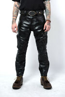 Men's Real Leather Bikers Pants With Quilted Panels Bikers Leather BLUF Pants