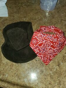Hat & Bandana Cowboy Western Fancy Dress Halloween Pet Dog Cat Costume Accessory