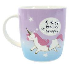 Unicorn TAZZA BONE CHINA non credo negli esseri umani Tazza Regalo Arcobaleno Rosa per Bambini Nuovo
