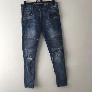 Blue Denim Biker Jeans