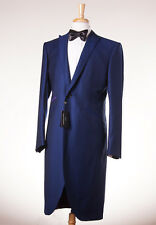 NWT $2995 OZWALD BOATENG Royal Blue Jacquard Frock Coat Tuxedo Slim 44 R Suit