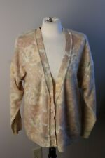 Vtg Tangles Italy M Wool Angora Deep V-Neck Yellow Floral Cardigan Sweater