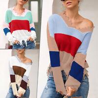 Women V Neck Ripped Tassel Knitted Sweater Jumper Off Shoulder Pullover Knitwear