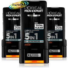 3x Loreal Men Expert Shower Gel Total Clean, Carbon, Total Action 5 IN 1 300ml