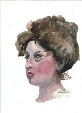 original watercolor Woman with Vctorian Hairdo    9X12