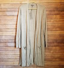 NWT Joseph A Womens XL Light Grey Long Open Cardigan Sweater
