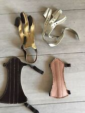 Vintage Lot . Leather Archery Supplies Fore Armguard Finger Sleeves Glove