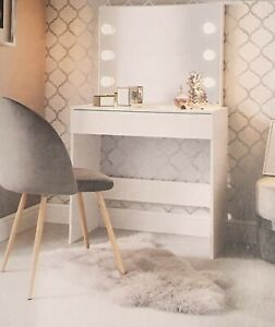 HollyWood Stunning White Dressing Table Drawer Set Mirror Light Makeup Desk New