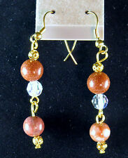 NWOT Unique Earrings, Goldstone, Jasper, Faceted Clear, Gold Plated Earwire