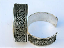 Huge Vintage Tibetan Delicate Lotus Filigree Multi-Weaving Amulet Cuff Bracelet