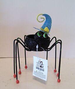 BLACK & BLUE METAL SPIDER VOTIVE HALLOWEEN TRICK TREAT DECORATION FALL AUTUMN