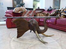 BIG VINTAGE AFRICAN SAFARI SOLID BRONZE ELEPHANT HEAD W BRASS TUSKS COFFEE TABLE
