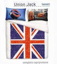Completo Copripiumino Matrimoniale Flag Union Jack London Natura City Bassetti