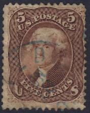 Us 1861 5¢ Sc 76 Light Blue Cancel Ironed Out Corner Bend See Scans