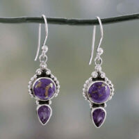 NEW Vintage Natural Purple Turquoise Amethyst Silver Long Hook Earrings Jewelry