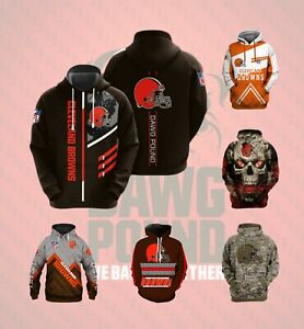 Cleveland Browns Hoodie Pullover Sweatshirt Casual Hooded Jacket Fans Coat Gift
