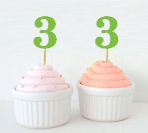 Darling Souvenir| Number 3 Birthday Cupcake Toppers| Birthday/ Anniversary-AWU