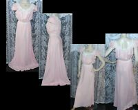 "VTG 1940's LONG(60"") PINK BUR MIL RAYON FLOOR LENGTH BIAS NIGHTGOWN SZ38 BUST 42"