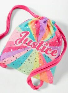 NWT JUSTICE Logo Rainbow Blanket in a Bag