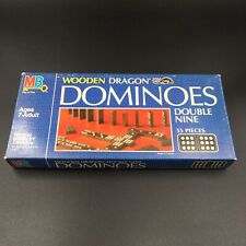 Vintage Wooden Dominoes Dragon Double Nine Milton Bradley Wooden Dragon MB