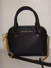MICHAEL KORS Cindy Women MK Shoulder Bag Crossbody Black Leather Gold 32F5GCPC5L