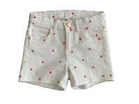 Girls H M Age 7 - 8 Years Shorts Denim White with Red Heart Pattern