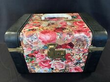 Vintage Cranston Collections Vanity Carrying Case Cats Floral Victorian Leather