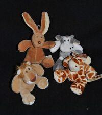 Lot 4 Peluche Doudou Lion Girafe Lapin Vache NICOTOY Petit Modèle 9 Cm Etat NEUF