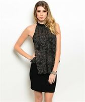 Women Black Dress Halter Mini Peplum Bodycon Formal Shimmer Top Slim Stretch