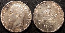 Napoléon III - 50 centimes tête laurée 1868 A, Paris argent - F.188/19