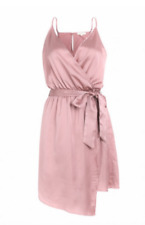 Womens Silky Blush Pink Satin Wrap dress with belt. Sizes xs-xl BNWT