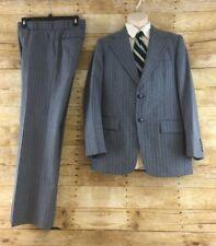 Vtg The Diamond Two Piece Suit 38R Blue Striped Retro Polyester Disco 80s