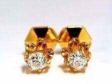 .50ct natural round single cut diamond stud earrings 14kt victorian