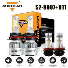 AUXBEAM 9007 H11 LED Headlight Bulbs For Nissan Frontier 05-2018 Xterra 02-2015