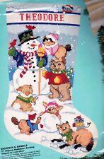 Bucilla Snowman & Animals Fox Bear Bunny Snow Needlepoint Stocking Kit 60707 E