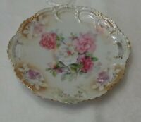 Germany Hand Painted handled Plate Pink White Peonies Gold Accent embossed rim