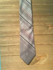 VTG Pierre Cardin LOGO Men Tie Stripe SKINNY Necktie Gray