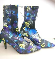 PRIMARK FLORAL ANKLE BOOTS SOCK STYLE BLUE POINTY BOOTS SIZE UK 5 38 NEW COMFY