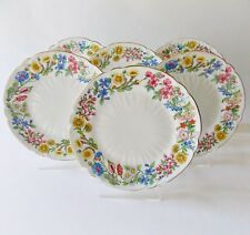 "SHELLEY HEDGEROW SIX 8"" SALAD PLATES OLEANDER FLORAL RIM GOLD TRIM MULTICOLORS"