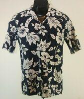 Hawaiian Shirt Medium Aloha Floral Blue White
