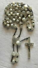 VINTAGE ANTIQUE ROSARY MOTHER OF PEARL CATHOLIC 16' LONG 20 gr