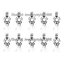 10X/set -K285 Silver Awareness Ribbon Sign Symbol Akoya Oyster Pearl Cage Locket